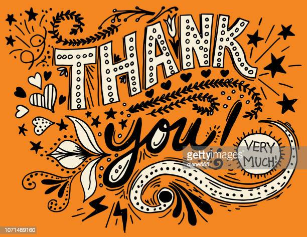 thank you hand drawn typography - pen and ink stock illustrations, clip art, cartoons, & icons