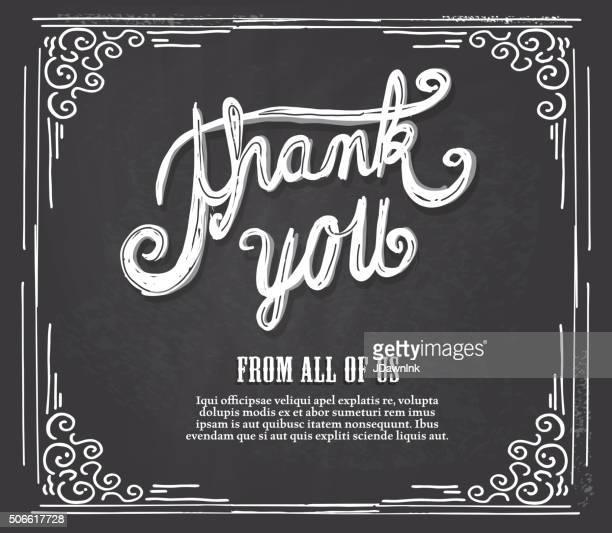 ありがとうレタリングデザインに残せる黒板をご用意 - thank you点のイラスト素材/クリップアート素材/マンガ素材/アイコン素材