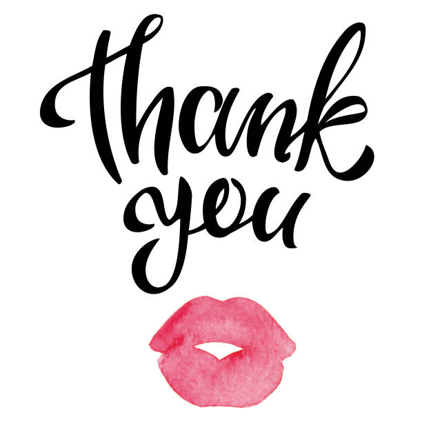 thank you handwritten inscription with watercolor kissing lips - lips stock illustrations