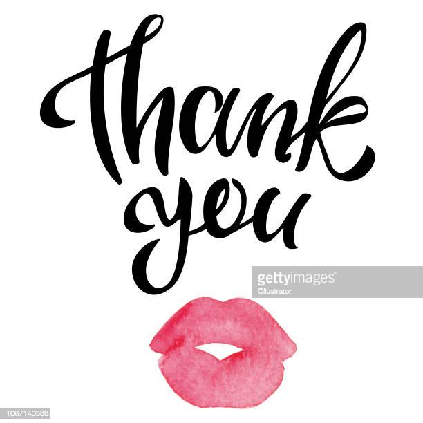 thank you handwritten inscription with watercolor kissing lips - human lips stock illustrations