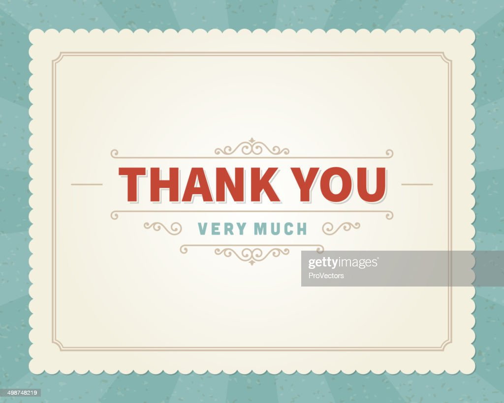 Thank you message card retro lettering typography