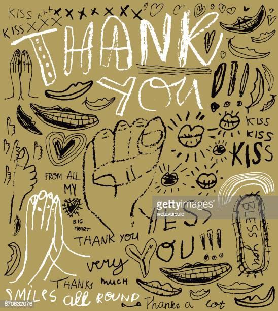 ilustraciones, imágenes clip art, dibujos animados e iconos de stock de estilo de graffiti de mensaje gracias - gracias