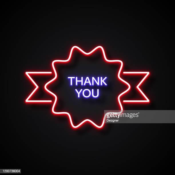ilustraciones, imágenes clip art, dibujos animados e iconos de stock de ¡gracias! mensaje estilo de neón, elementos de diseño - thank you frase corta en inglés