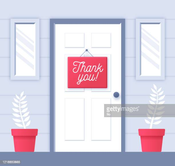 thank you note on door showing gratitude - entrance stock illustrations