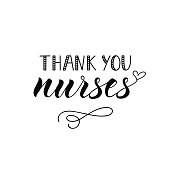 Thank you nurses. Hand drawn lettering background. Ink illustration.