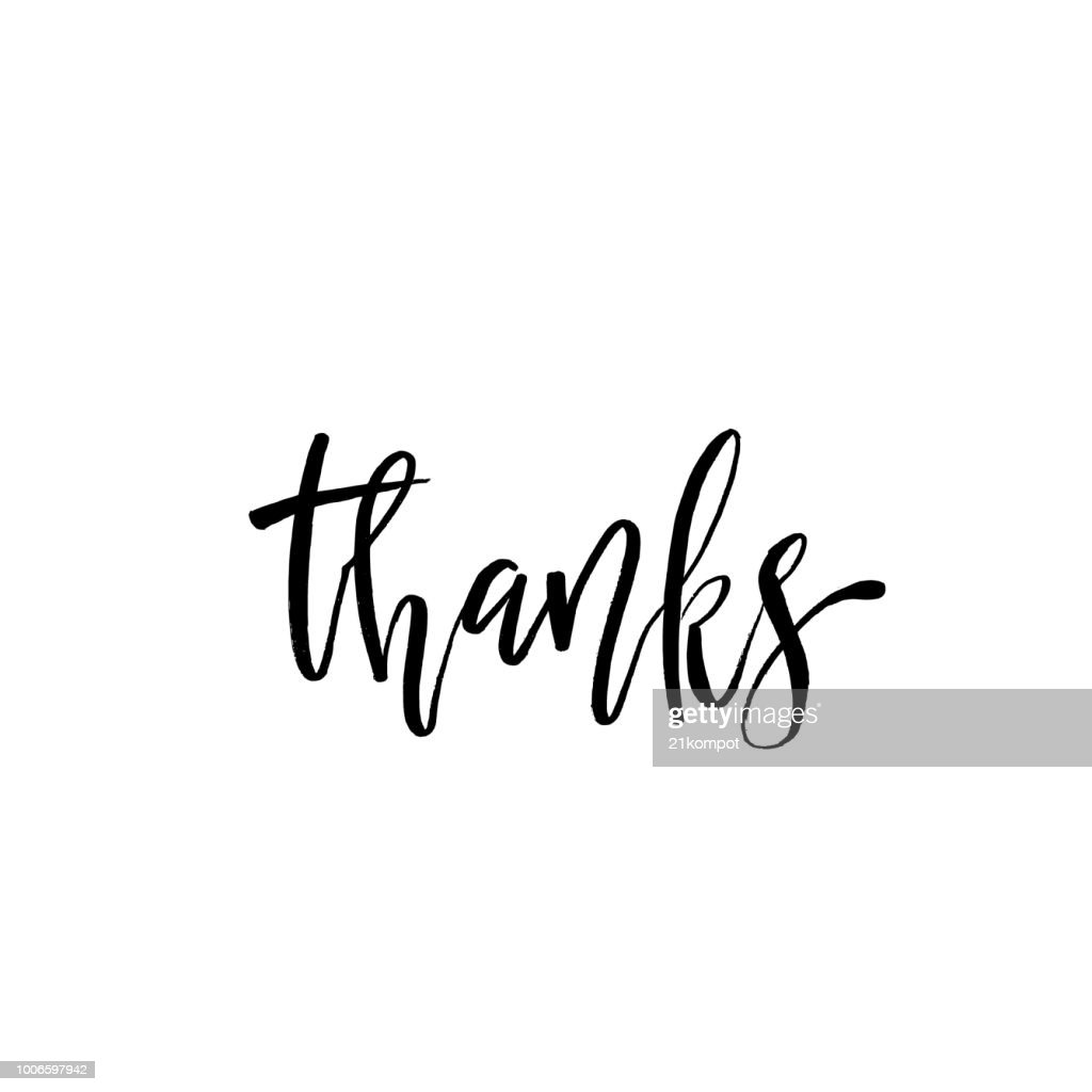 Thank you phrase, Hand drawn black lettering, photo overlay in vintage style. Thanks in english. Modern brush calligraphy for social media, greeting card, t-shirt, prints and posters.