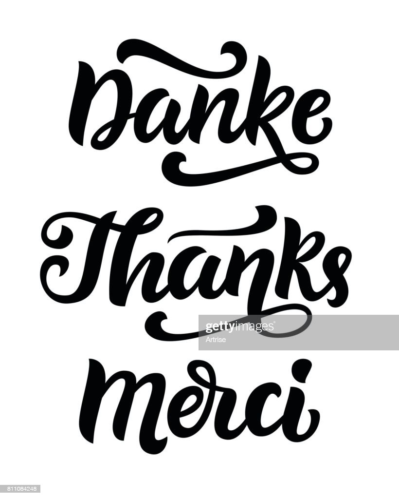 Thank you phrase, hand written lettering in german, english and french