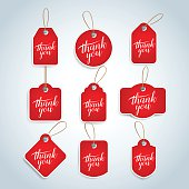 Thank you red tags, badges, cards set. Isolated vector illustrations
