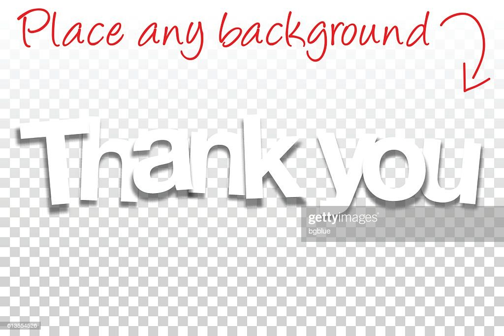 Thank You Sign for Design - Paper Font, Blank Background : Ilustración de stock