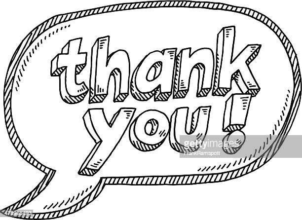 thank you! speech bubble drawing - thanks quotes stock illustrations