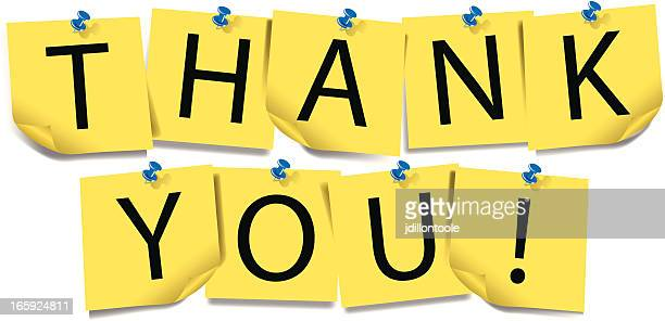 thank you | sticky notes with thumb tack - post it stock illustrations, clip art, cartoons, & icons