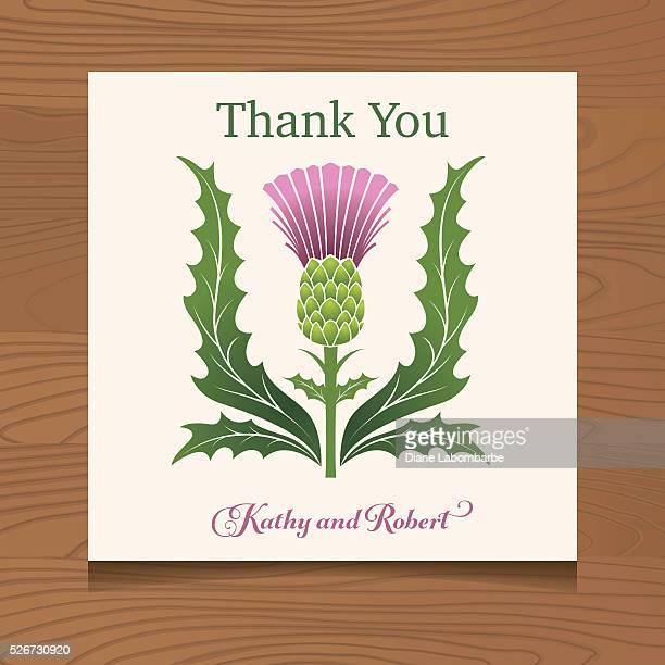 ilustraciones, imágenes clip art, dibujos animados e iconos de stock de gracias plantilla con la cardos escoceses en un fondo de madera - thank you frase corta en inglés