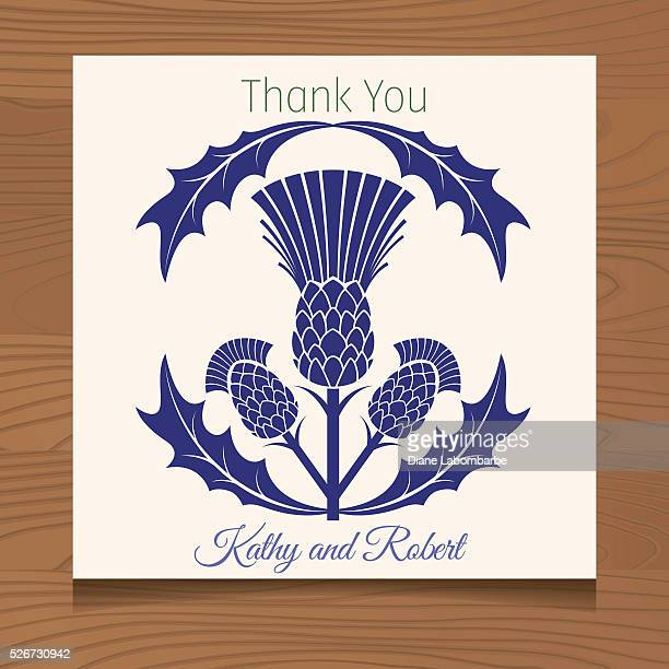 thank you template with scottish thistles on wood background - thistle stock illustrations, clip art, cartoons, & icons