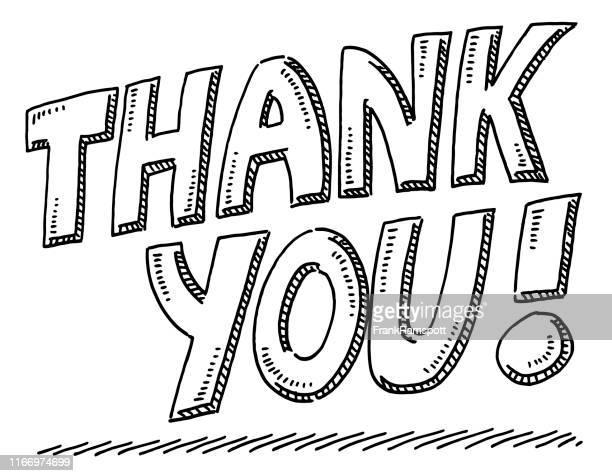 ilustraciones, imágenes clip art, dibujos animados e iconos de stock de sorteo de texto de agradecimiento - thank you frase corta en inglés