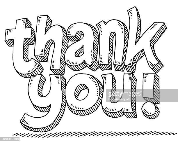 ilustraciones, imágenes clip art, dibujos animados e iconos de stock de dibujo de texto gracias - thank you frase corta en inglés