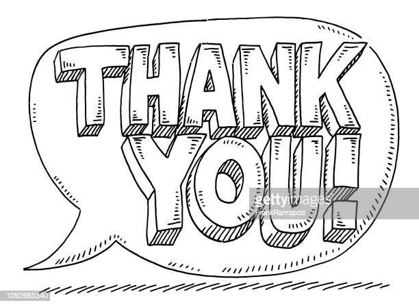 danke text in speech bubble zeichnung - frankramspott stock-grafiken, -clipart, -cartoons und -symbole