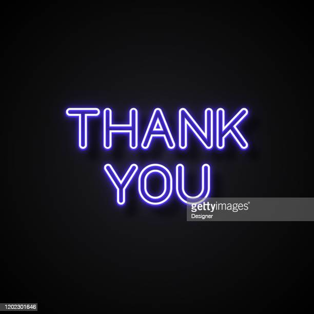 thank you text neon style, design elements - royal blue stock illustrations