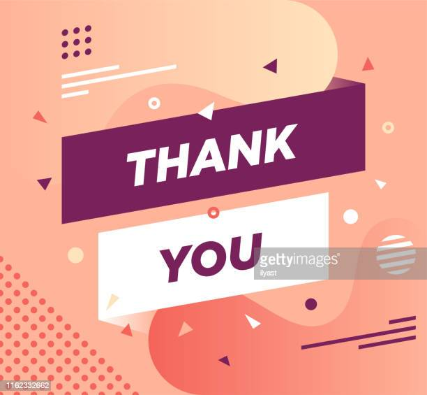 thank you trendy abstract web banner design - gratitude stock illustrations