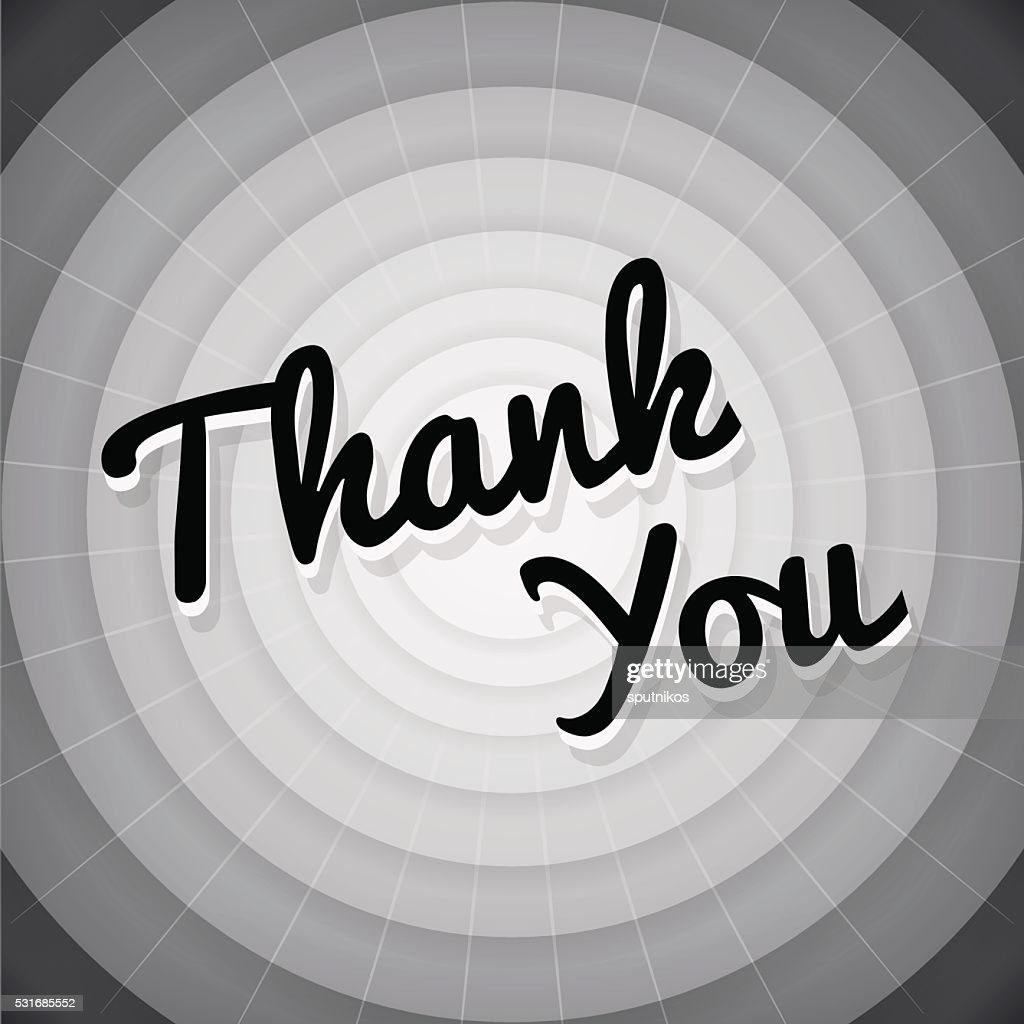 Thank you typography black and white old movie screen