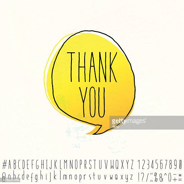 Thank You Word Text Space Doodle Speech Bubble With Alphabet