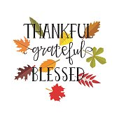 Thankful grateful blessed simple lettering. Calligraphy postcard or poster graphic design lettering element.