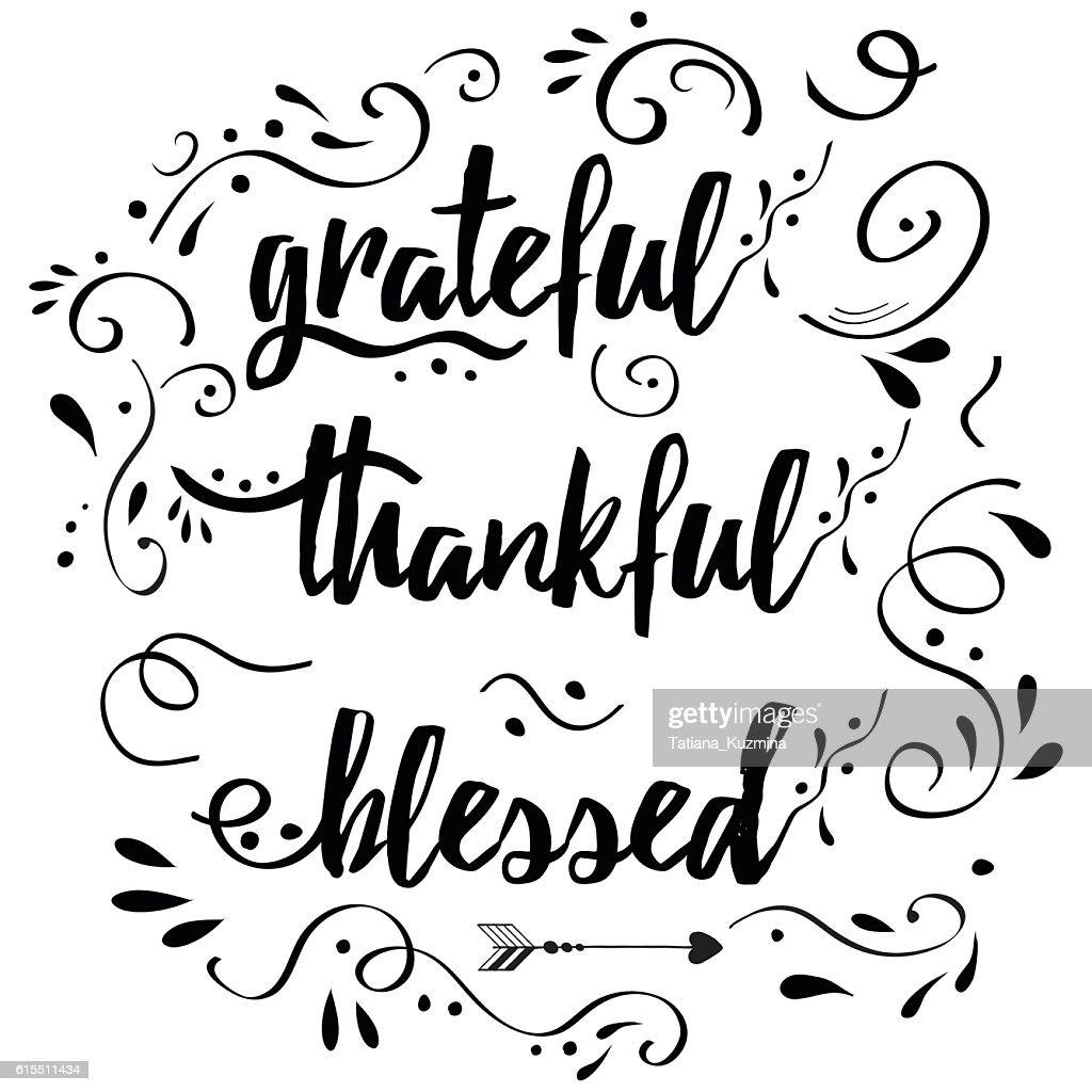 Thankful grateful blessed vector hand drawn card decorated floral ornament