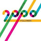 Thanks 2000 follower, vector banner, poster for blogs, social networks.
