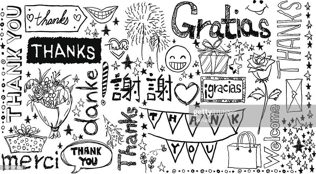 Gracias que las palabras en diferentes idiomas. : Ilustración de stock