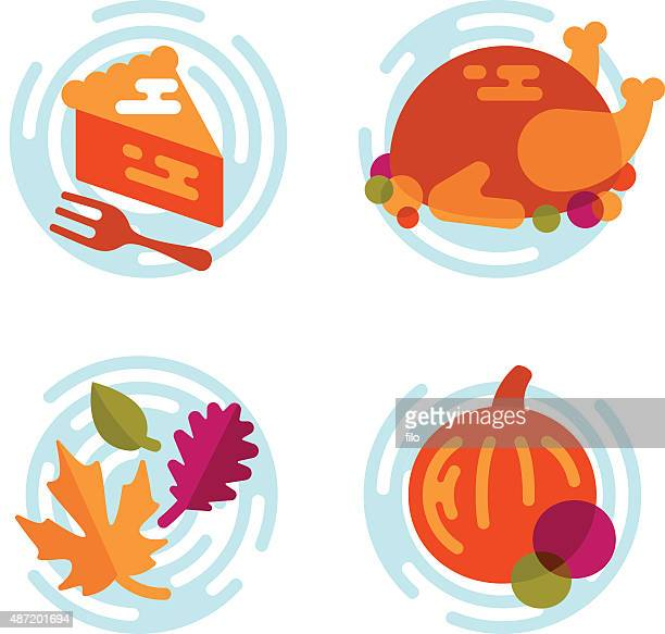 Thanksgiving and Autumn Flat Design Elements