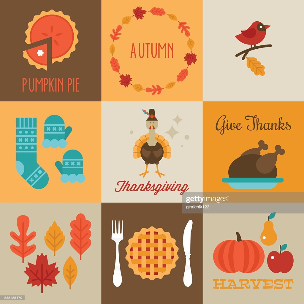 Thanksgiving and autumn greeting cards design with flat stylish