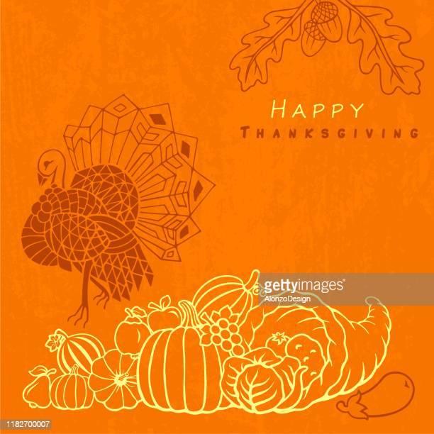 感謝祭と秋のデザイン - 豊穣の角点のイラスト素材/クリップアート素材/マンガ素材/アイコン素材