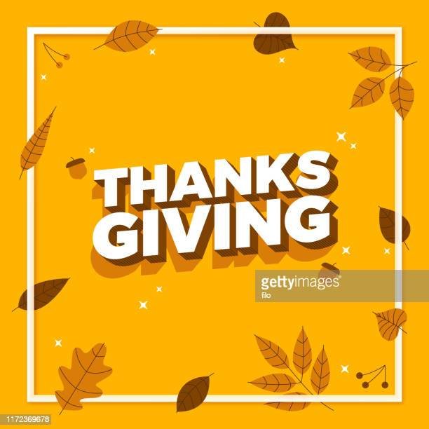 thanksgiving autumn frame message background - thanksgiving holiday stock illustrations