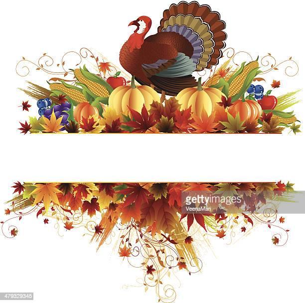 thanksgiving banner - turkey bird stock illustrations