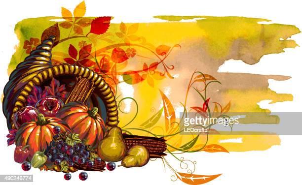 感謝祭の日のバナー - 豊穣の角点のイラスト素材/クリップアート素材/マンガ素材/アイコン素材