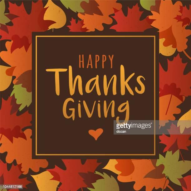 ilustraciones, imágenes clip art, dibujos animados e iconos de stock de tarjeta de acción de gracias con borde de hoja de otoño - thanksgiving