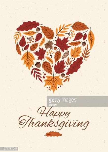 ilustraciones, imágenes clip art, dibujos animados e iconos de stock de tarjeta de acción de gracias con el otoño leaves heart. - linda rama