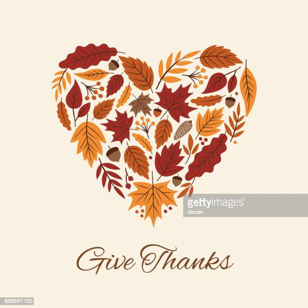 thanksgiving card with autumn leaves heart. - cute stock illustrations