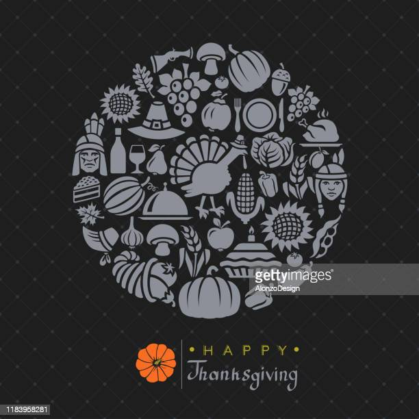 thanksgiving card with circle ornament. - pilgrim stock illustrations