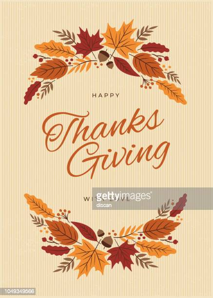 thanksgiving card with fall leaves wreath - autumn stock illustrations