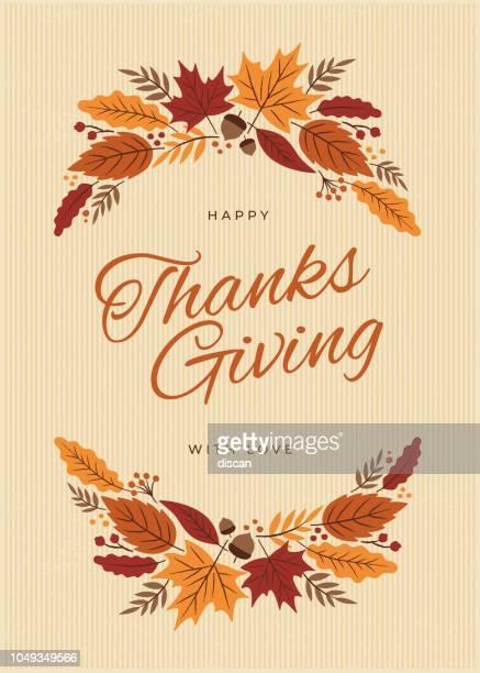 ilustraciones, imágenes clip art, dibujos animados e iconos de stock de tarjeta de acción de gracias con caída deja corona - thanksgiving