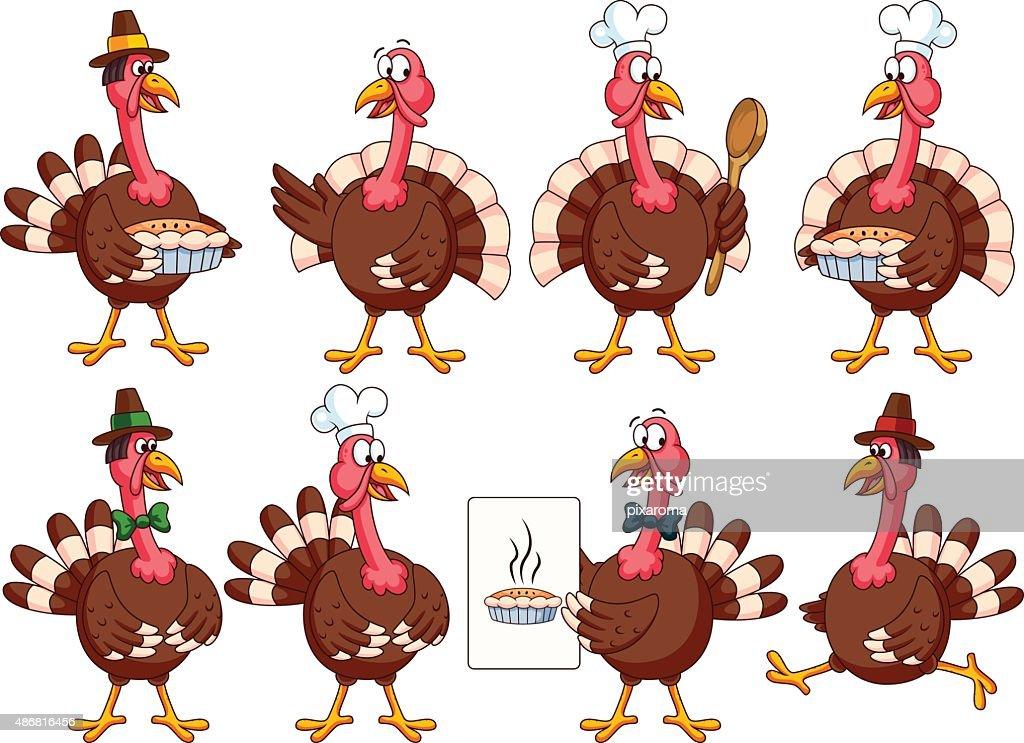 Thanksgiving Cartoon Turkeys Set