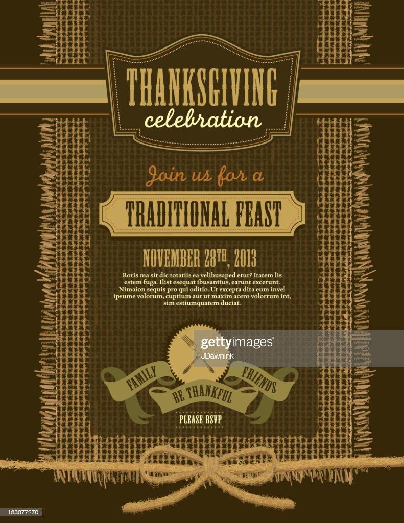Thanksgiving celebration invitation burlap design template