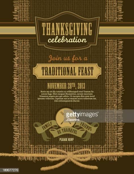 感謝祭の日のパーティの招待状のデザインテンプレート麻布 - 荒い麻布点のイラスト素材/クリップアート素材/マンガ素材/アイコン素材