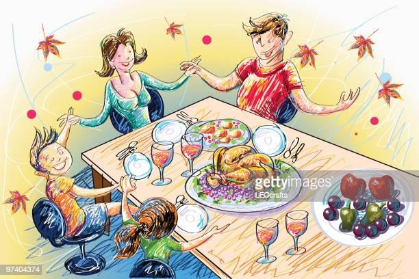 ilustraciones, imágenes clip art, dibujos animados e iconos de stock de celebración del día de acción de gracias - mesa de comedor