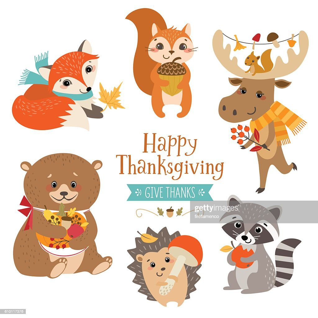 Thanksgiving cute forest animals
