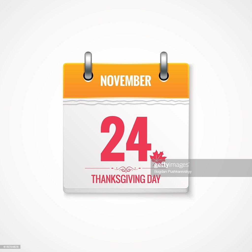 Thanksgiving Day calendar event background : Arte vectorial
