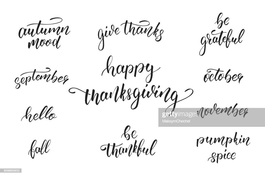 Thanksgiving Day. Calligraphy quotes for Thanksgiving Day