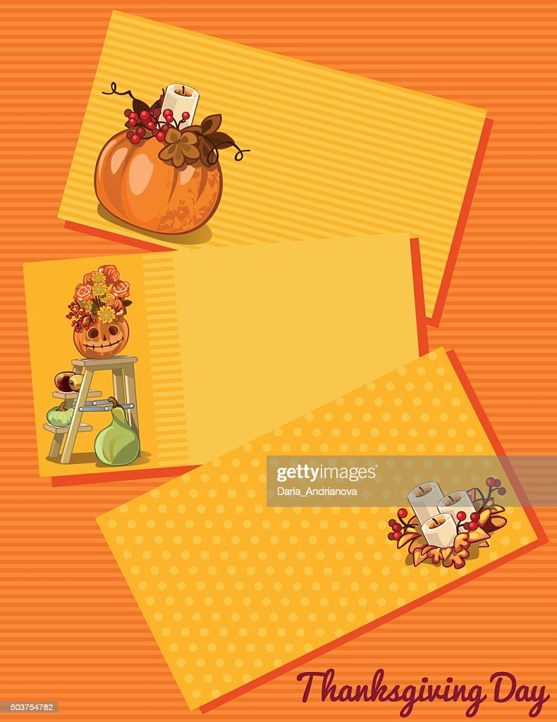 Thanksgiving day card, three cards with pattern
