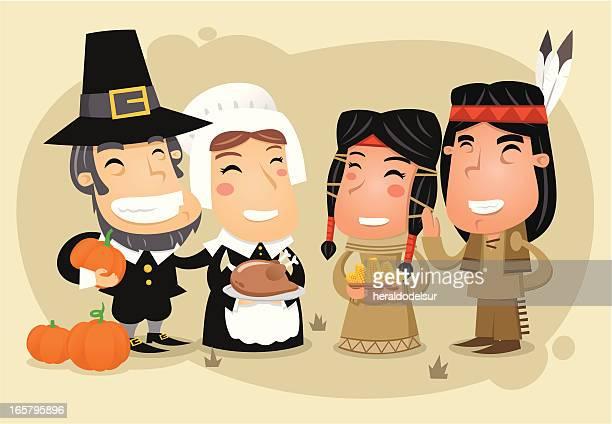 thanksgiving day celebration - pilgrim stock illustrations, clip art, cartoons, & icons