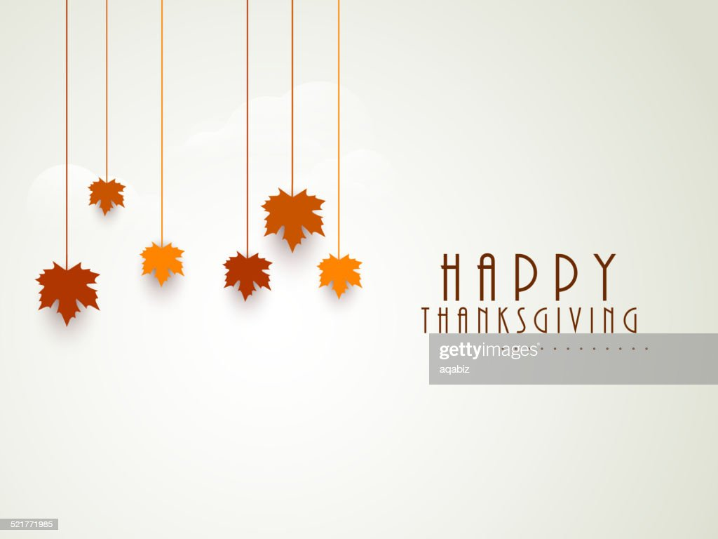 Thanksgiving Day celebration with hanging maple leaves.